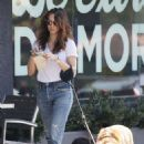 Troian Bellisario – Walking her dog in LA - 454 x 652