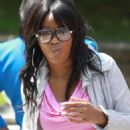 Keke Palmer and her boyfriend Rodney King on the set of the upcoming movie 'Abducted: The Carlina White Story' in Vancouver, Canada on July 7, 2012