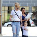 January Jones and son Xander run errands in Los Angeles