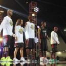 Trey Songz, Rocsi Diaz, Usain Bolt, Nick Cannon and Ne-Yo of Team East attend the 2013 NBA All-Star Celebrity Game at George R. Brown Convention Center on February 15, 2013 in Houston, Texas