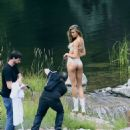 Josephine Skriver Shooting a commercial for Victoria Secret's upcoming holiday catalog in Aspen - 454 x 535
