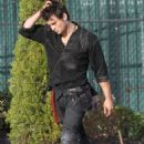 Shiloh Fernandez on the set of Red Riding Hood