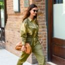 Lily Aldridge in Green Outfit – Out in New York City - 454 x 665