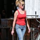 Melanie Griffith is seen leaving The Bowery Hotel in New York City, New York on August 27, 2015
