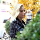 Margot Robbie–Leaving a restaurant in Tribeca
