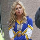 Aly Michalka shows off her toned abs as she films a scene for the CW TV series 'Hellcats' filming on location in downtown Vancouver. March 14, 2011