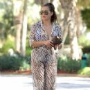 Chloe Goodman – Wears a zebra print jumpsuit out in Dubai - 454 x 669