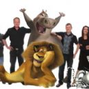 "(Left to right) The filmmakers—and some of the zoosters—from ""Madagascar: Escape 2 Africa"" are directors ERIC DARNELL and TOM McGRATH; Alex the lion (seated, as voiced by BEN STILLER); Gloria the hippo (standing, as voiced by JADA"