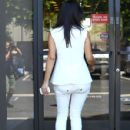 Kim Kardashian is dressed all in white as she steps out in Studio City, California on June 28, 2012