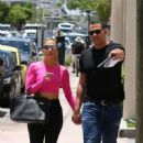 Jennifer Lopez in Pink Crop Top and Tights in Miami