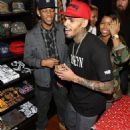 Chris was full of cheer as he collected Christmas toys for underprivileged children at a drive hosted by his clothing line, Black Pyramid, and skateboard company, Brooklyn Projects, on Melrose Avenue