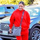 Christina Milian in Red at her Beignet Box business in Studio City