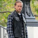 Actor Charlie Hunnam filming scenes on the set of 'Sons Of Anarchy' in Los Angeles, California on October 28, 2014. Charlie is filming the last episodes of the last season of the hit TV show