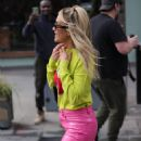 Ashley Roberts – In pink leather pants and yellow leaving the Heart Radio Studios in London - 454 x 681