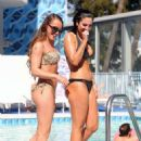 Tulisa Contostavlos in Black Bikini on the pool in Los Angeles - 454 x 611
