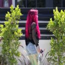 Bella Thornewith new freshly bright red dyed hair out in LA