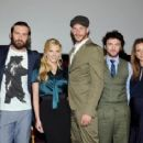 Vikings Cast: Travis Fimmel, Clive Standen, Katheryn Winnick, Gustaf Skarsgard, George Blagden, Jessalyn Gilsig and the producer Michael Hirst. - 454 x 236
