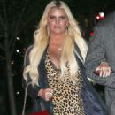 Jessica Simpson in Leopard Print Dress – Out in New York City