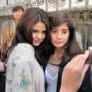 Selena Gomez Visiting With Fans - Monte Carlo Set In Paris, June 23 2010