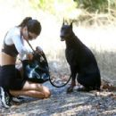 Kendall Jenner – Out for a hike with her doberman in Los Angeles