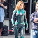 Brie Larson – Wears Suits up as Captain Marvel on set in Los Angeles - 454 x 681