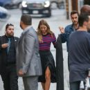Melissa Benoist and Chris Wood  at 'Jimmy Kimmel Live' - 450 x 600
