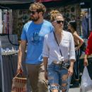 Bethany Joy Lenz with boyfriend at the farmers market in Los Angeles