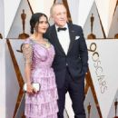 Salma Hayek and her husband François-Henri Pinault At The 90th Annual Academy Awards in Los Angeles - 454 x 681