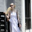 Elle Fanning in Long White Dress out in Studio City
