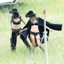 Alessandra Ambrosio and and Adriana Lima Shooting for VS holiday catalog in Aspen - 454 x 408
