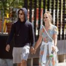 Nina Agdal and her boyfriend Jack Brinkley – Walking their dog in New York