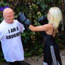 Courtney Stodden – Takes shots at her ex Doug Hutchinson punching shirt in Beverly Hills - 454 x 378