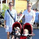 Neil Patrick Harris and David Burka taking the twins for a stroll in St. Tropez (August 2) - 454 x 643