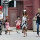 Eva Longoria: attended a kids birthday party at Griffin Park in Los Angeles