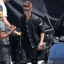 Justin Bieber on the set of his music video for the track Boyfriend as they filmed in Los Angeles