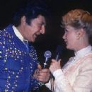Liberace and Debbie Reynolds performing at Dunes Hotel in Las Vegas, Nevada (1982)