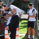 Cristiano Ronaldo signs autographs for fans while exiting the Beverly Hills Hotel on Monday (July 29) in Beverly Hills, Calif