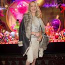 Jerry Hall lightening up the Galeries Lafayette christmas tree in Paris