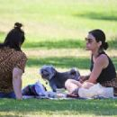 Lucy Hale – With her two dogs to meet a friend at a park in Studio City - 454 x 321