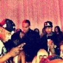 Blac Chyna, Tyga, Chris Brown, and Rihanna at the Supperclub in Los Angeles, California - February 12, 2013