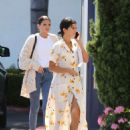 Selena Gomez in Floral Print Dress – Out in Orange County