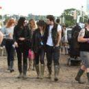 Dakota Johnson, Sam Taylor-Johnson and Aaron Taylor-Johnson at Glastonbury Festival 2014