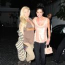 Former beauty queen Shanna Moakler and former supermodel Janice Dickinson share a kiss outside the infamous Chateau Marmont in West Hollywood - 454 x 590