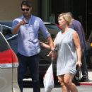 Jennie Garth and husband Dave Abrams g out shopping at Macy's in Los Angeles, California on August 26, 2016