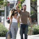 Former 'Dallas' star Jesse Metcalfe and his fiance Cara Santana share a few laughs after enjoying lunch at Gracias Madre in West Hollywood, California on October 30, 2014