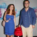 Elena Karpodini and Vasilis Liatsos- leaving the maternity clinic August 2016 - 454 x 637
