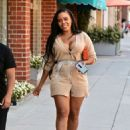 Angela Simmons in Short Shirt Dress – Heads to a medical building in Beverly Hills