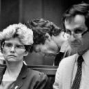 Flanked by his court-appointed attorneys, Night Stalker suspect Richard Ramirez bows his head during arraignment proceedings - 298 x 400