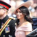 Prince Harry Windsor and Meghan Markle attend the 2018 Trooping the Colour ceremony - 438 x 600