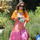 Olivia Wilde – In summer dress arriving at a friend's house in Los Angeles